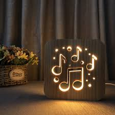 Night Light For Kids Music Note Wooden 3d Lamp Creative Wooden Lights 3d Wood Carving Pattern Led Night