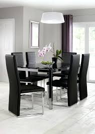 dining table 6 chairs set with extending black glass modern