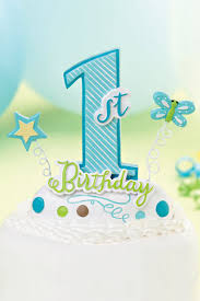 Blue Boys 1st Birthday Party Cake Topper
