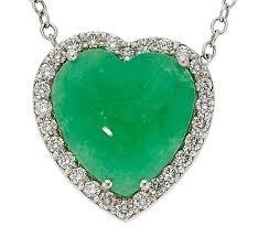 jadeite jade diamond gold heart pendant for