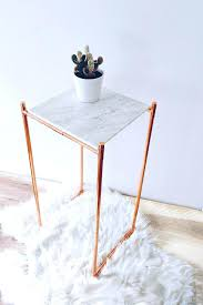 copper side table marble and copper side table end table modern by accent copper drum side