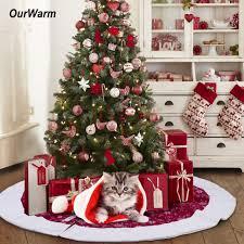 OurWarm 48inch Christmas Tree Skirt Velvet Snowflake Xmas Tree Skirt New  Year 2018 Christmas Decoration for