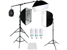 lusana studio softbox boom stand 3 photo continuous lighting kit lng1792