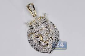 mens diamond pave king lion head pendant 14k yellow gold 276