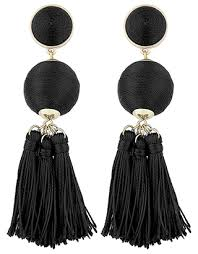 block colour tassel earrings