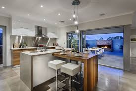 kitchen island breakfast bar pendant lighting glass sliding doors modern home in wandi perth