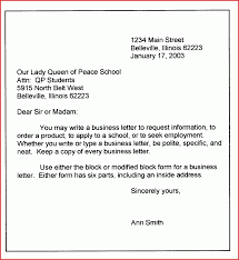 Business Letter Block Style Format Structure Of A Business Letter