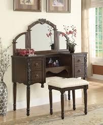 brown bedroom vanities. acm06540 cherry oak brown finish wood make up bedroom vanity set vanities