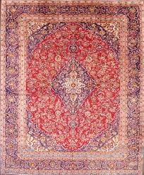 9 5 x 11 9 hand knotted semi antique red navy persian kashan oriental area rug 12980475