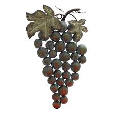 on metal grape vine wall art with cluster of grapes wall decor
