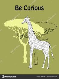 Poster Des Citations Avec Girafe Savane Animaux Dessinés à La Main