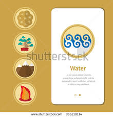 water feng shui element infographics. Five Elements, Symbol Of Feng Shui In Flat Design: Fire, Water, Wood Water Element Infographics