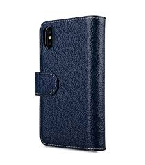 melkco premium leather case for apple iphone x wallet plus book type dark blue