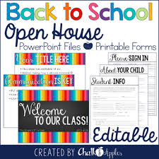 Open House Powerpoint Editable Open House Powerpoint Forms Back To School