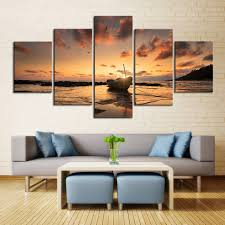 5 piece sunset sea view boat canvas painting large print art for living room wall art on boat canvas wall art with 5 piece sunset sea view boat canvas painting large print art for