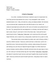 literacy narrative essay final draft kala carroll essay  literacy narrative essay 1 final draft kala carroll essay 1 literacy narrative a book to remember as a child i remember the first book i learned to