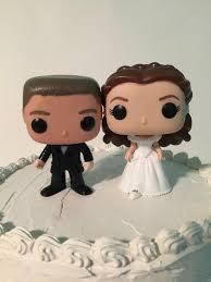 custom funko pop brundette bride with long hair and groom wedding cake topper set