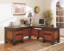 office desk wooden. Furniture. Brown Wooden L Shape Desk With Drawers And Shelf Placed On The Rug Office