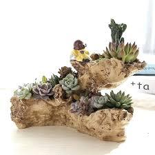garden pots sculpture design artificial driftwood planter resin flower pot sculpture succulent air plants rustic declined