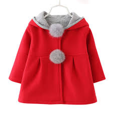 2016 kawaii kids winter coats with hood rabbit ears baby girls coats push ball stylish