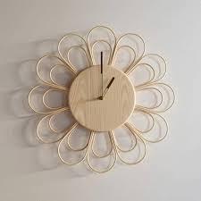rattan and ash wooden big wall clock