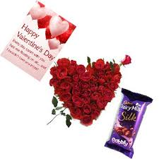 roses heart bubbly with card