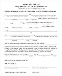Vehicle Gift Affidavit Form Example