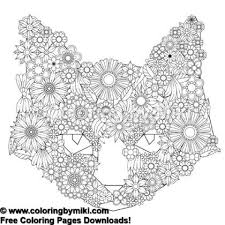 Floral Cat Coloring Page 1141 Ultimate Coloring Pages 大人の