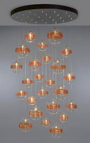 contemporary chandelier blown glass led custom breath saturn