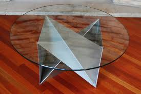marvelous round glass coffee table metal base