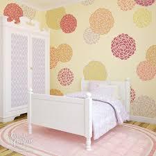 baby nursery decor or little girls bedroom decor painted flowers on walls floral wall  on nursery wall art stencils with big bloomers zinnia flower stencil set royal design studio stencils