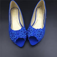 Girls Blue Vintage Lace Wedding Shoes Royalbluebridal Ballet Shoes