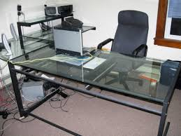 office glass tables. Glass Computer Desk With Pull-Out Keyboard Tray Office Tables