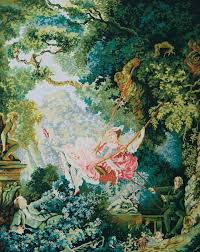 the swing fragonard canvas only penelope antique canvas colour printed design canvas size x with dmc thread recommendations
