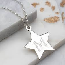 personalised large sterling silver star initial pendant
