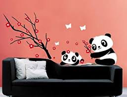 lovely panda plum blossom wall sticker decal for nursery bedroom removable kids room wallpaper girls on panda wall art uk with lovely panda plum blossom wall sticker decal for nursery bedroom
