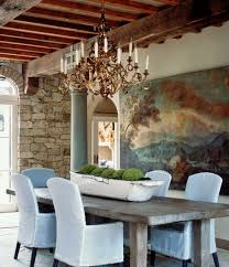 antique chandelier over the dining table