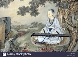 ancient chinese painting of wise man playing a guqin a seven stringed zither