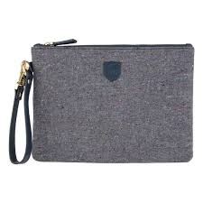 grey salt pepper donegal tweed clutch bag to view a larger image