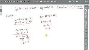 systems of linear equations monetary elimination method math example