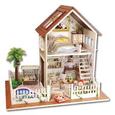 diy dollhouse furniture. 2016 New Wooden Dollhouse Furniture Kids Toys Handmade Gift Diy Doll House Kits With Led Stuff Home Decor Craft Houses Miniature A025