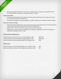 Certified Nursing Assistant Experienced Resume Sample