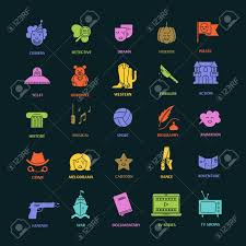 Film Genres Vector Set Of Movie Genres Flat Icons Isolated Different Film