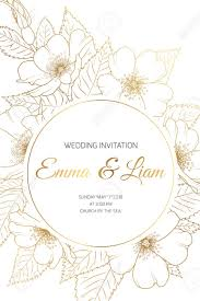 Wedding Event Invitation Card Template. Circle Ring Round Wreath ...