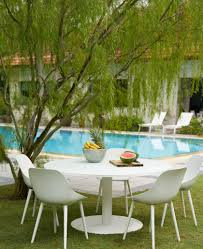 outdoor furniture white. EVITA White Round Dining Table | Grey Glass Top Outdoor Furniture .