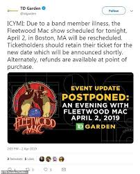 mer a number of fans expressed their disappointment after the venue announced the postponement fleetwood mac