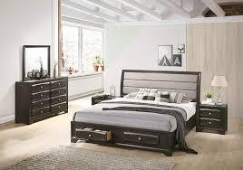 Roundhill Furniture B138NKDMN2 Asger Wood Bedroom Set with Upholstered King Bed Antique Gray