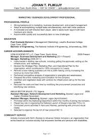 Chronological Resume Sample Marketing Business Development