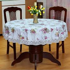 new past style pvc round table cloth waterproof oilproof flower
