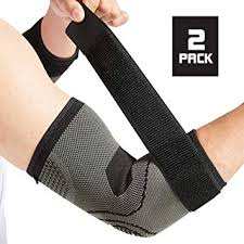 Elbow Brace With Strap For Tendonitis 2 Pack Tennis Elbow Compression Sleeves Golf Elbow Treatment Medium